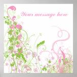 Elegant Pink & Green Florals & Swirls