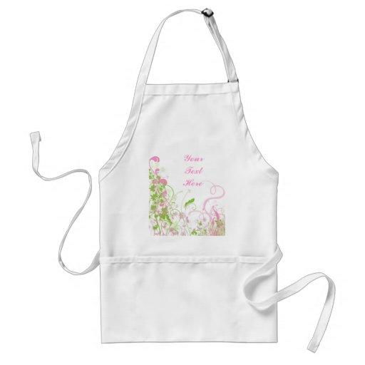 Elegant Pink & Green Florals & Swirls Apron