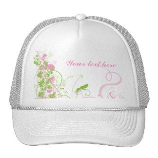 Elegant Pink & Green Florals & Swirls Cap
