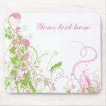Elegant Pink & Green Florals & Swirls Mousepad