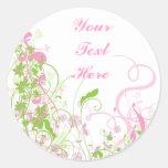 Elegant Pink & Green Florals & Swirls Round Stickers