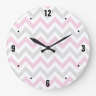 Elegant Pink, Grey and White Chevron Pattern Wallclocks