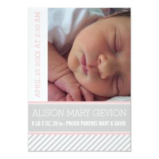 Elegant pink, grey striped baby girl birth 13 cm x 18 cm invitation card