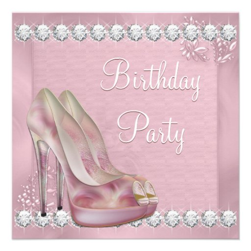 Elegant Pink High Heel Shoe Birthday Party Custom Invitation
