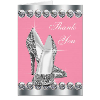 Elegant Pink High Heel Shoe Thank You Cards