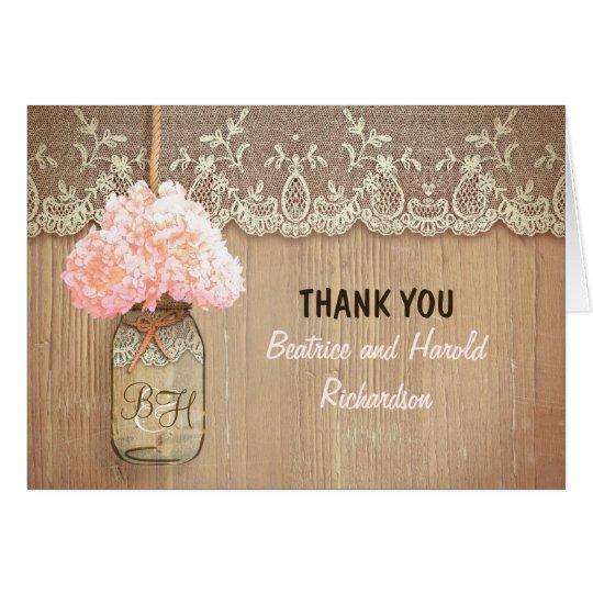 Elegant pink hydrangea mason jar wedding thank you