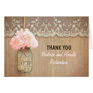 Elegant pink hydrangea mason jar wedding thank you note card