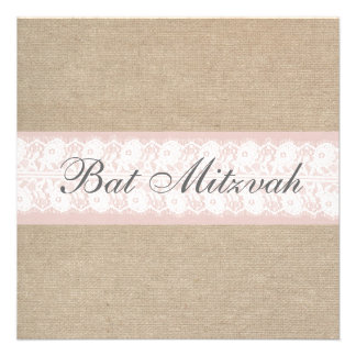 Elegant Pink Lace Burlap Bat Mitzvah Invitation