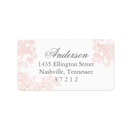 Elegant Pink Lace Wedding Label