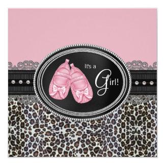 Elegant Pink Leopard Baby Shower Card