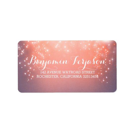 Elegant Pink Lights Wedding Address Label