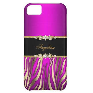 Elegant Pink Magenta Zebra Black Gold iPhone 5C Case