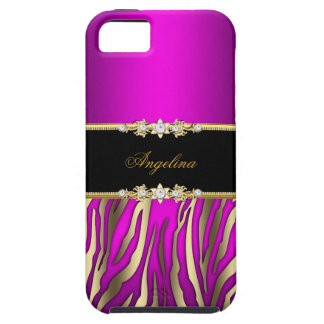 Elegant Pink Magenta Zebra Black Gold Tough iPhone 5 Case