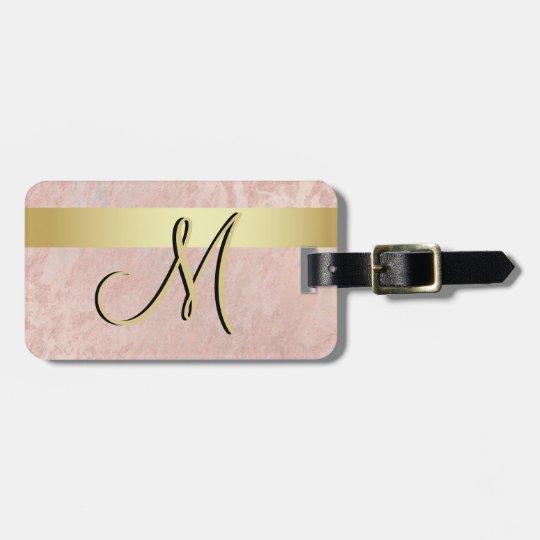 Elegant Pink Marble Gold Monogram Letter Initial Luggage