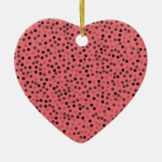 elegant pink melon color dots pattern ceramic heart decoration