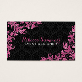 Elegant Pink Metall Lace Black Damasks Business Card