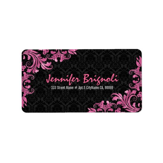 Elegant Pink Metall Lace Black Damasks Label