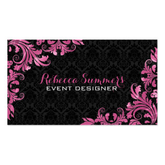 Elegant Pink Metall Lace Black Damasks Pack Of Standard Business Cards