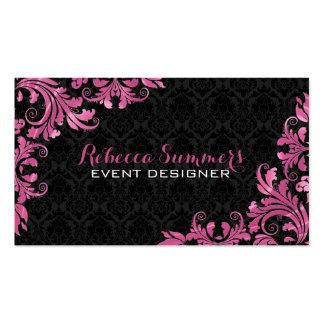 Elegant Pink Metall Lace Black Damasks Pack Of Standard Business Cards