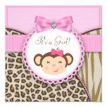 Elegant Pink Monkey Baby Girl Shower Custom Invite