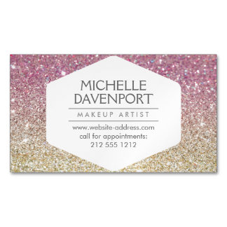 Elegant Pink Ombre Glitter Magnetic Business Card Magnetic Business Cards