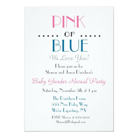 Elegant Pink or Blue Gender Reveal Invitation