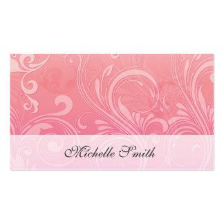 Elegant Pink Orange Embossed Floral Pack Of Standard Business Cards