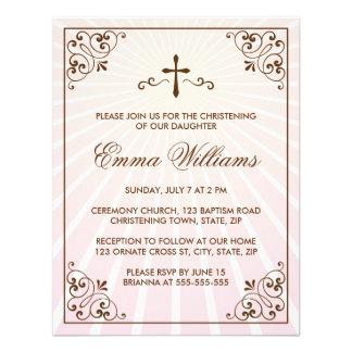 Elegant pink ornate frame christening invitation