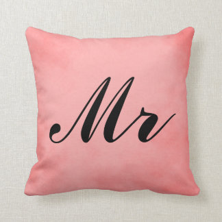 Elegant Pink Parchment Mr and Mrs Cushion