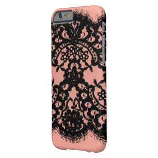 elegant pink paris vintage black lace pattern barely there iPhone 6 case