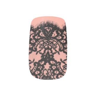 elegant pink paris vintage black lace pattern nail stickers