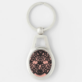 elegant pink paris vintage black lace pattern Silver-Colored oval key ring