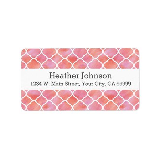 Elegant Pink Pattern Watercolor Geometric Address Label