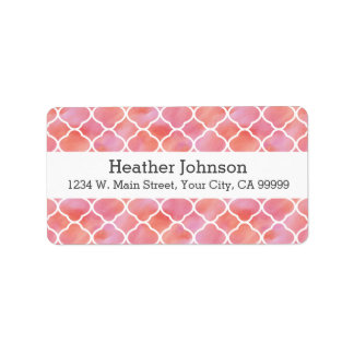 Elegant Pink Pattern Watercolor Geometric Label