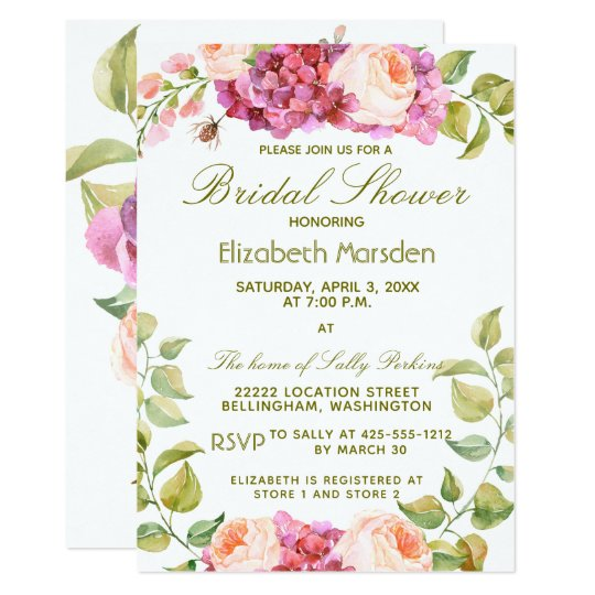Elegant Pink Peach Rose Floral Bridal Shower Card