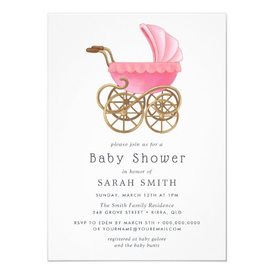 Elegant Pink Pram Girl  Vintage Baby Shower Invite