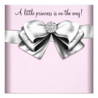 Elegant Pink Princess Baby Shower Card