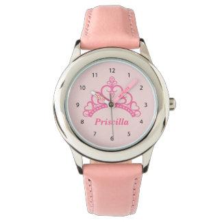 Elegant Pink Princess Tiara, Crown for Girls Wristwatches