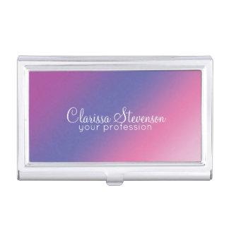 elegant pink purple blue ombre gradient colorful business card holder