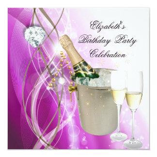 Elegant Pink Purple Silver Glitter Birthday Party 5.25x5.25 Square Paper Invitation Card