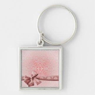 Elegant Pink Ribbon Lace Damask Keychain