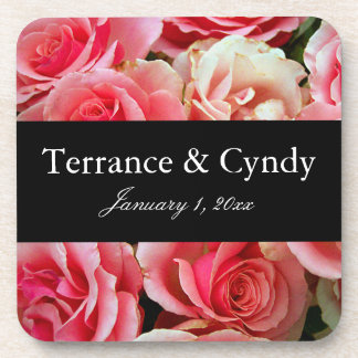 Elegant Pink Rose Bouquet Personalize Coaster