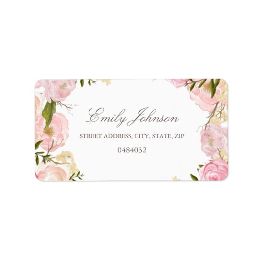Elegant Pink Rose Bridal Shower Address Labels