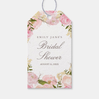 Elegant Pink Rose Bridal Shower Favor Tags