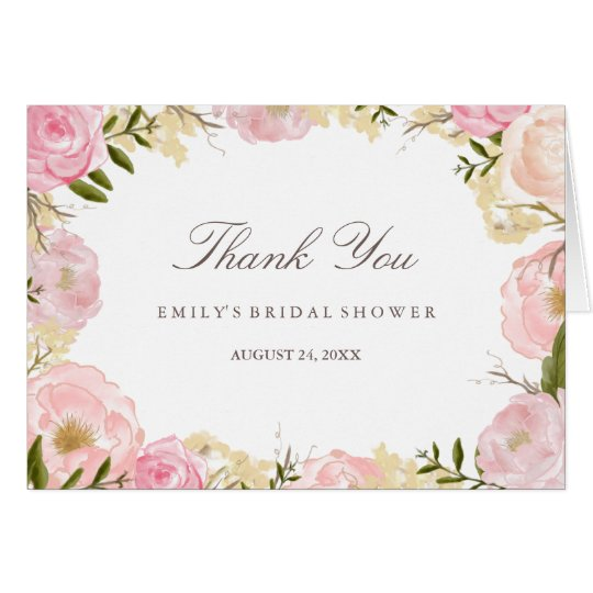 Elegant Pink Rose Bridal Shower Thank You Card