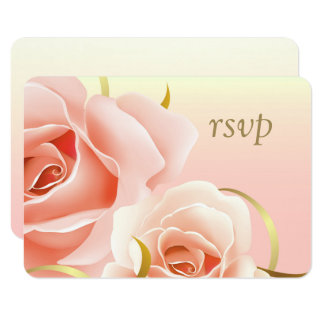 Elegant Pink Rose Design Custom RSVP Cards