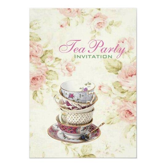 elegant Pink rose Floral vintage Bridal tea party
