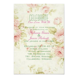 elegant Pink  rose Floral vintage  wedding invite