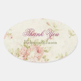 elegant Pink  rose Floral vintage  wedding Oval Sticker