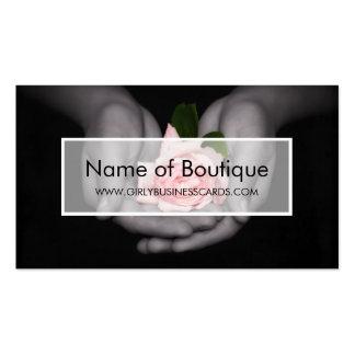 Elegant Pink Rose Flower In Hands Boutique Business Cards